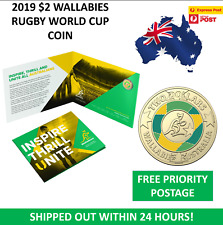 2019 $2 WALLABIES COIN RUGBY WORLD CUP TWO DOLLAR UNC COIN & FOLDER  - NEW