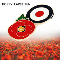 Circle Poppy Red Flower Enamel Crystal Pins Symbolic Brooch Coat Decoration