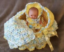 """Crochet Doll Cradle Church Purse Bassinet with 5"""" Mini Baby Doll, outfit clothes"""