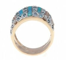 14Kt Yellow Gold Dome Shape Band with Blue Topaz, Mother of Pearl & Opal Inlay