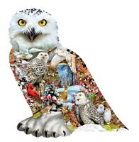 Sunsout - SNOWY OWL - Shaped 650 piece jigsaw puzzle.