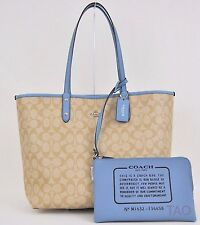 Coach Signature Reversible PVC City Tote Handbag Pouch Khaki Cornflower F36658