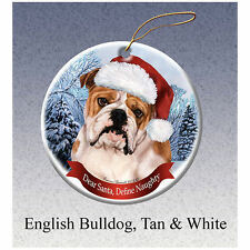 English Bulldog Tan Howliday Porcelain China Dog Christmas Ornament