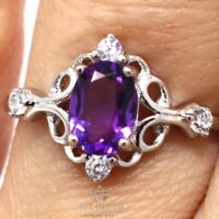Natural Oval Purple Amethyst Ring Women Birthday Jewelry 14K White Gold Plated