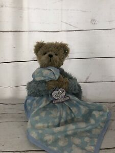 HTF NWT Annette Funicello Brown Bear w/ Blue Blanket And Clouds 9 Inches Jointed