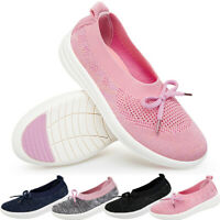 Womens Fly Weave Casual Shoes Mesh Breathable Slip On Walking Low Heel Sneaker