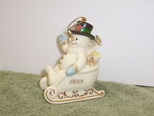 """1999 Lenox Classics Snowman ornament """"Sleigh Full of Smiles"""" gold accents"""