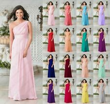 New One Shoulder Long Chiffon Evening Dresses Party Prom Gown Bridesmaid Dresses
