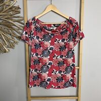 Regatta Size 14 L Women's Cowl Neck Top Blouse Red Print Stretch