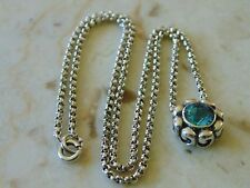 ZINA OF BEVERLY HILLS STERLING SILVER & SWISS BLUE TOPAZ FLOWER PENDANT NECKLACE