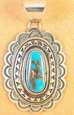 Navajo Handmade Sterling Silver Pendant Gem Candelaria Turquoise  Donovan Cadman
