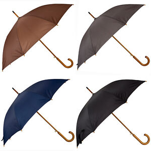 Wooden Crook Handle Automatic Open Umbrella Deluxe Brolly Walking Stick Rain NEW