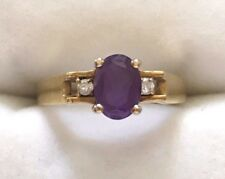 14kt Yellow Gold Amethyst Ring with Diamond Accents, Size 5¼ Excellent Condition