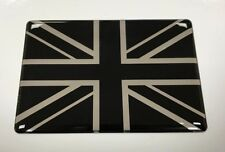 UNION JACK FLAG Sticker/Decal 64mm - CHROME & BLACK - HIGH GLOSS DOMED GEL - UK