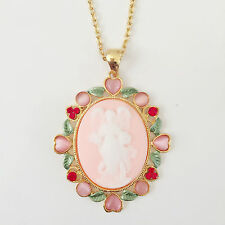 New Rose Pink Vintage Style Angel Cameo Garden God Lucky Chain Necklace NE1106