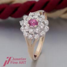Schnäppchen: RING mit 1 Rubin und 20 Diamanten (Diamant) - 14K/585 Gelbgold