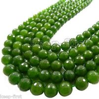"""Beautiful 8mm Round Faceted Green Jade Jewelry Loose Gemstone Beads Strand 15"""""""