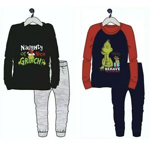 Boys Grinch Pyjamas Christmas Pjs Set Nightwear Long Sleeve Xmas Eve Gift Kids