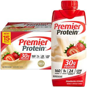Premier Protein High Protein Shake, Strawberries & Cream (11oz,15 pk)