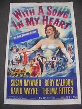 """ORIG 1952 1-SHEET 27x41"""" POSTER FOR """"WITH A SONG IN MY HEART"""" W/ SUSAN HAYWARD!"""