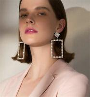 Square Earring Hoop Earrings Jewelry Luxury Gift Crystal Geometric Fashion Women
