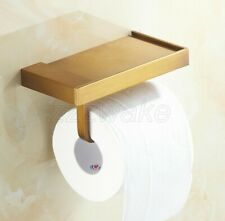 Antique Brass Toilet Elegant Roll Holder with Bathroom Tissue Rack Phone Shelf