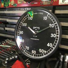 """10"""" Black shop clock w/ Smiths Chronometric tach:Bsa/Norton/Triumph/M g/Jag/Ahrma"""