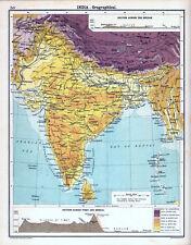 INDIA - OROGRAPHICAL 1905 Robertson & Bartholomew ANTIQUE MAP