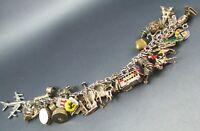 Vintage Sterling Silver Charm Bracelet UK & Europe Vacation LOADED 31 Charms