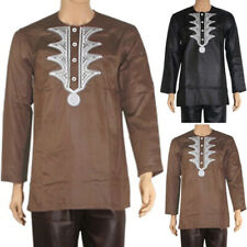 Mens Long Sleeve African Ethnic Printed Blouse Casual Dashiki Shirt Top Clothing
