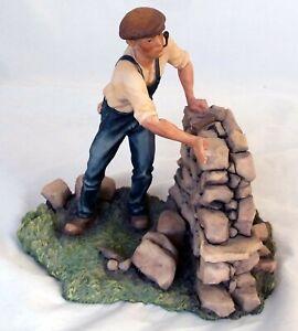 """AYNSLEY MASTERCRAFT  MAN DRY STONE WALLING - A/F figurine 7.50"""" x 7.50"""""""