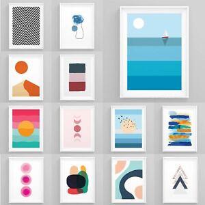 Scandinavian Wall Art Framed Modern Geometric Prints Minimalist Posters Lounge