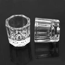 2 X Glass Dappen Dish / Crystal Octogonal Cup Pot Acrylic Nail Art Liquid Powder