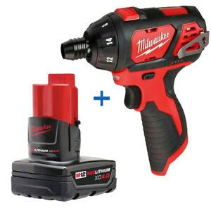 New Milwaukee M12 2401-20 1/4 Cordless Hex Screwdriver 48-11-2440 4.0 Battery