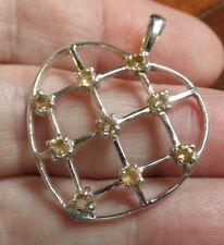 November Birthstone Stylish Sterling Silver and Citrine Heart Pendant