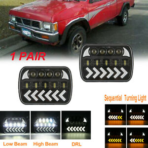 7x6 LED DRL H6054 Headlight Sequential Turn For Toyota Nissan Pickup Hardbody