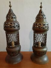 New listing Vintage Moroccan Pierced Brass lamps Moroccan Lamps