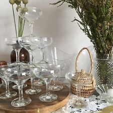 12 x Vintage Champagne Saucers Coupes Glasses Mid Century Modern Wedding Party