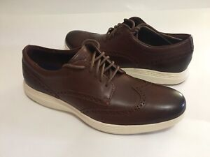 NWOB Cole Haan Grand.OS Mens Wingtip Brown Leather Oxford Shoes Size 10M