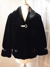 J.D American Black Quality Double Faux Fur Jacket Women L *NWOT*
