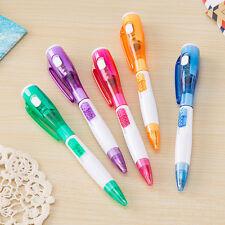 5er LED Kugelschreiber Light Writer Schwarz matt mit LED blauschreibend Pen.