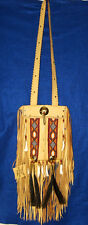 Fancy Beaded Gold Leather Bag Fringed  Authentic Native American Regalia MS01