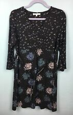 Laura Ashley Black Blue Patterned 3/4 Sleeve Dress Size 16 - B35