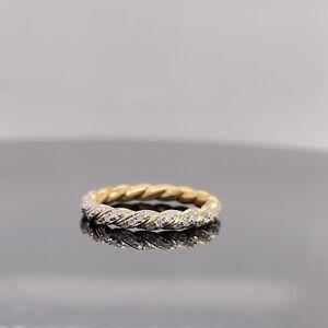 David Yurman 18k Yellow Gold Paveflex Diamond Ring 2.7mm New $1950 / Size 8