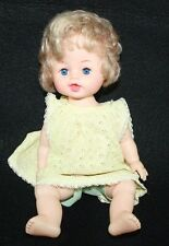 "Vintage Doll plastic Hong Kong Sleepy eyes Jointed 11"" Yellow Dress Baby"