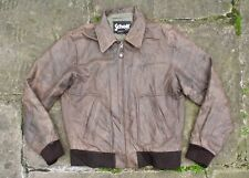 SCHOTT NYC BROWN LEATHER BOMBER JACKET FLIGHT BIKER M