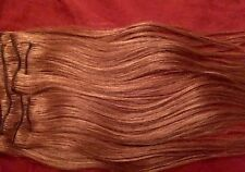 "100% Human Hair Extensions Light Brown / Auburn 16"" 8 Piece Set Clip In"