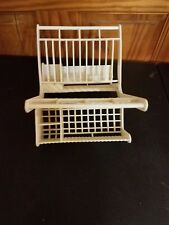 Vintage Fisher Price Dish Drying Rack Drainer White Play Kitchen Fun with Food