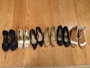 6 lot Womens sandals shoes pumps size 7M white beige Toms wedge 9 West Bandolino