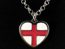 Love England!!! St George Cross Heart Silver Toned Adjustable Necklace